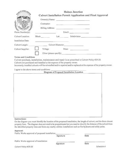 Culvert Installation Permit Application and Final Approval