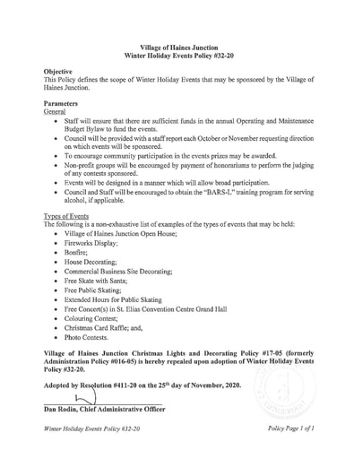 32-20 Winter Holiday Events Policy