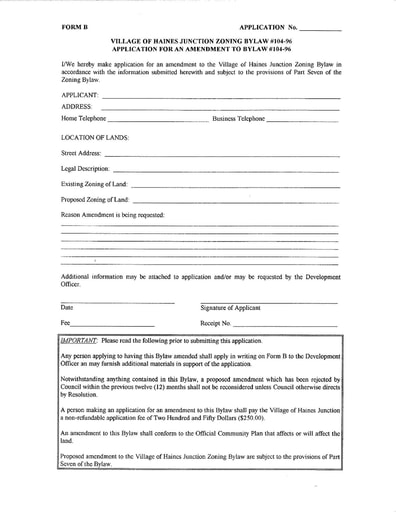 Zoning Bylaw - Application for Amendment to Zoning Bylaw Form