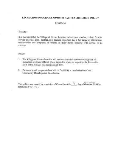 08-94 Recreation Programs Administrative Surcharge Policy