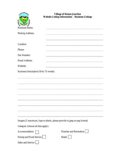 Business Website Listing Form