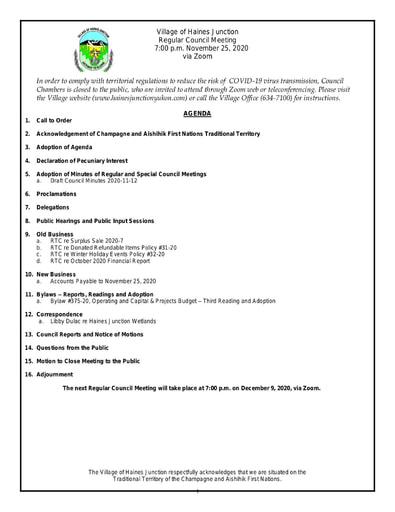 Council Agenda November 25, 2020