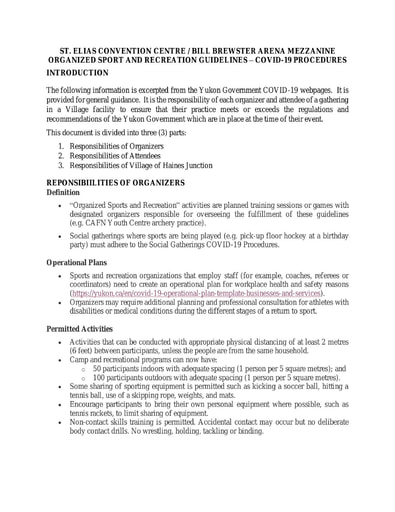 St Elias Centre Sport and Recreation COVID 19 Guidelines
